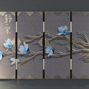 新中式屏风3D模型【ID:333088685】
