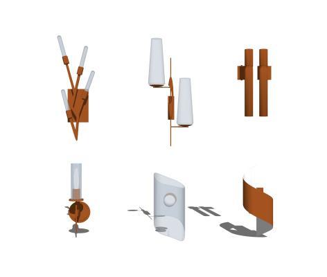 現代壁燈組合SU模型【ID:348432992】
