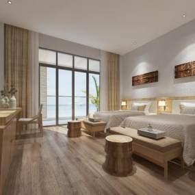 东南亚风格酒店客房3D模型【ID:743448367】