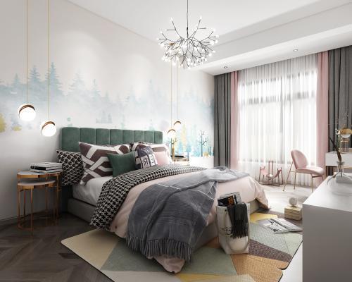 現代輕奢臥室3D模型【ID:547917214】