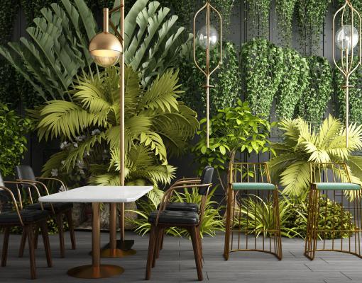 現代綠植墻飾植物盆栽休閑桌椅組合3D模型【ID:240946887】