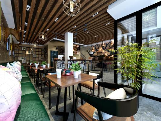 工业风咖啡厅3D模型【ID:641741312】