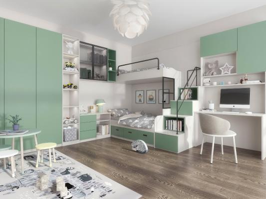 北欧儿童房3D模型【ID:552633783】