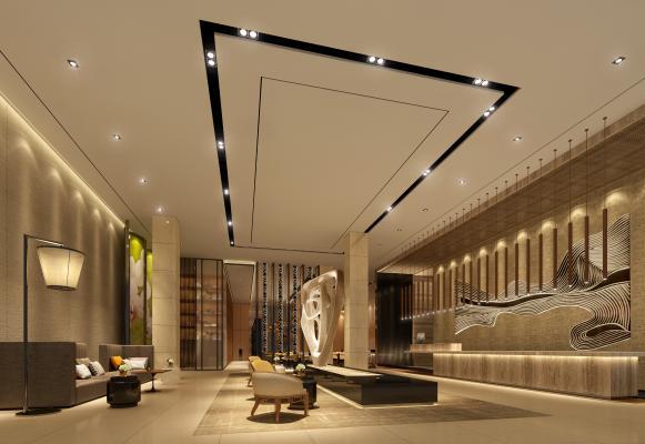 新中式酒店大堂3D模型【ID:753222084】