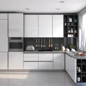 現代北歐廚房3D模型【ID:542962050】