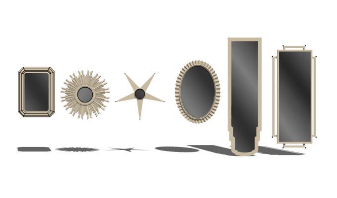 現代金屬裝飾鏡SU模型【ID:948182291】