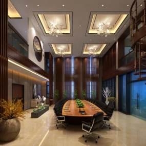 新中式会议室3D模型【ID:935852133】