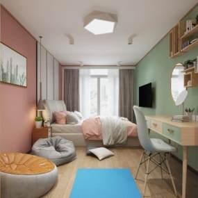 北欧单身公寓3D模型【ID:544507218】