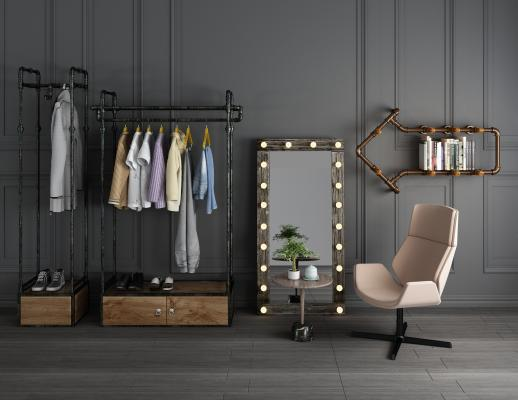 工业风金属衣架单人椅3D模型【ID:144539418】