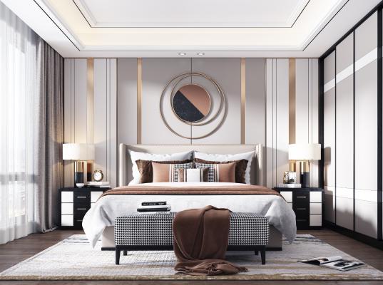现代卧室3D模型【ID:550679211】