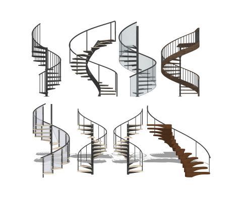 現代旋轉樓梯組合SU模型【ID:448628437】