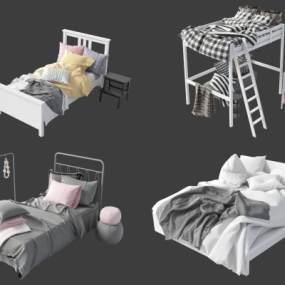 现代床具组合3D模型【ID:851224695】