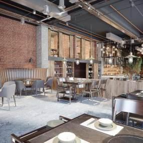 现代餐厅3D模型【ID:648062503】