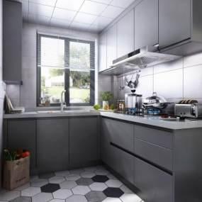 現代風格廚房櫥柜3D模型【ID:543821339】