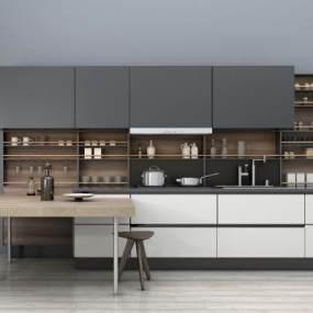 现代简约厨柜吧台组合3D模型【ID:135461754】
