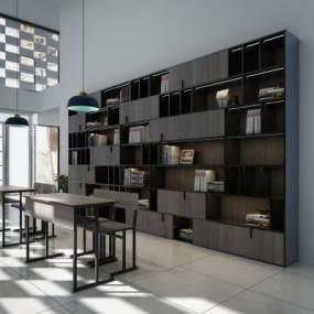 现代书柜北欧简约书柜阅读区3D模型【ID:132753586】