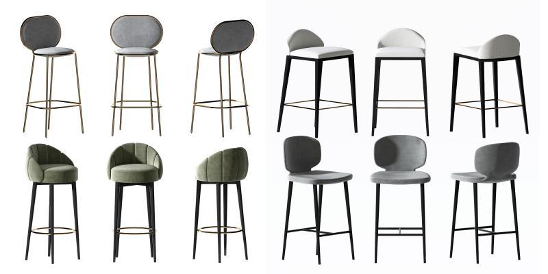 现代吧椅组合3D模型【ID:750370275】