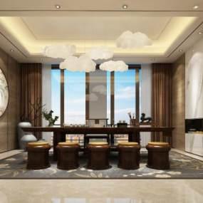 新中式茶室3D模型【ID:653706189】