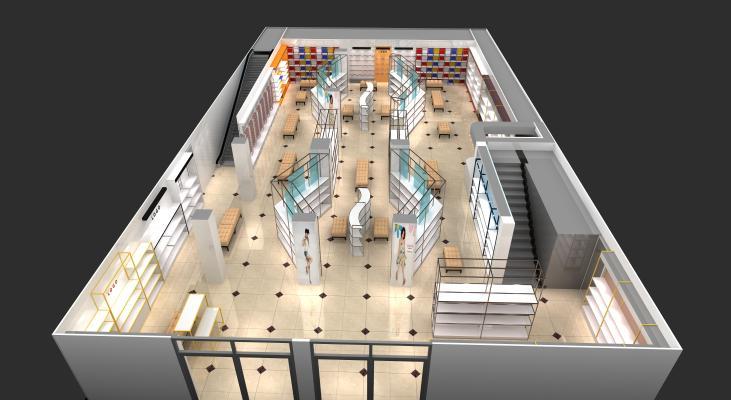 現代鞋商場3D模型【ID:943347724】