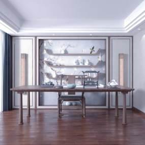 新中式茶室3D模型【ID:648270172】