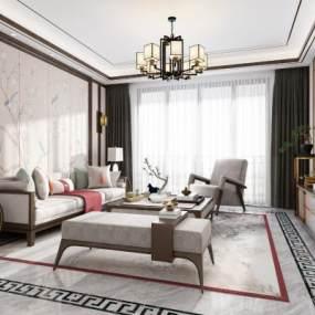 新中式客厅3D模型【ID:532002058】