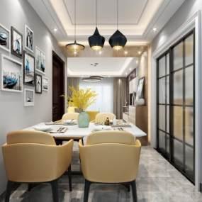 现代客餐厅3D模型【ID:531476029】