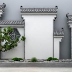 新中式马头墙3D模型【ID:137142451】