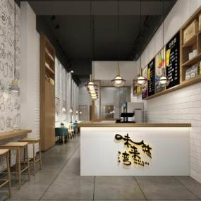 现代奶茶店 3D模型【ID:641407440】