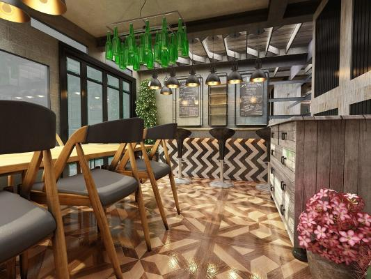 现代餐饮酒吧3D模型【ID:641498350】