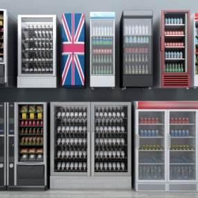 现代冰箱冰柜自动售卖机酒柜酒水饮料组合3D模型【ID:230500615】