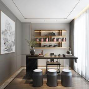 新中式茶室3D模型【ID:649252153】