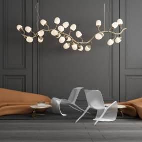 现代大厅前台弧形休闲沙发吊灯组合 3D模型【ID:641394704】