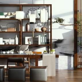 中式茶室3D模型【ID:532925453】