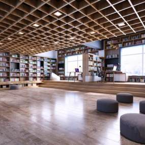 新中式風格學校休息室3D模型【ID:948026625】