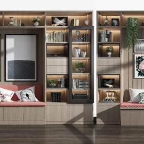 现代卡座装饰柜书柜组合3D模型【ID:138711148】