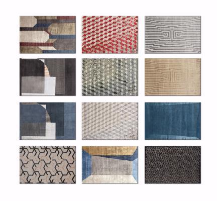 现代几何图形撞色装饰地毯3D模型【ID:342524297】