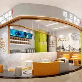 现代奶茶店3D模型【ID:648135921】