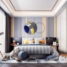 现代轻奢卧室3D模型【ID:554053240】