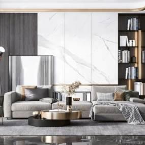 现代客厅沙发茶几组合3D模型【ID:543554092】