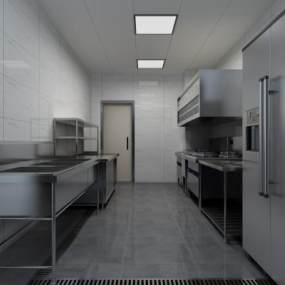 现代餐厅后厨3D模型【ID:646535682】
