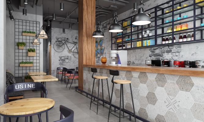 工业风咖啡厅3D模型【ID:646227365】