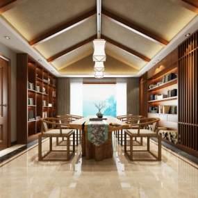 新中式茶室3D模型【ID:653706183】