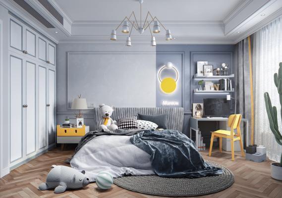 北欧风格儿童房 儿童床 床头柜