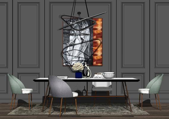 现代餐桌椅组合SU模型【ID:653926657】
