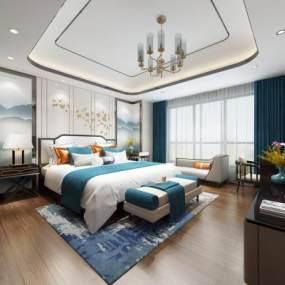 新中式卧室3D模型【ID:537651246】