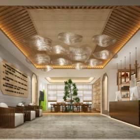 新中式酒店大堂3D模型【ID:735363038】