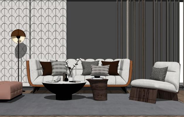 现代沙发茶几组合SU模型【ID:453866163】