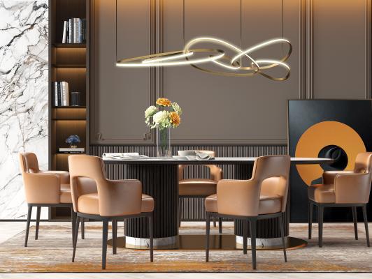 现代轻奢大理石餐桌椅组合