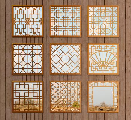 中式鏤空木質仿古花窗3D模型【ID:343352219】