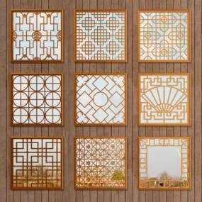 中式镂空木质仿古花窗3D模型【ID:343352219】